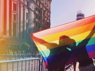 Schwules Paar hinter einer Regenbogenflagge - Bild: deivitt via Twenty20